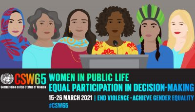 CSW poster representing several women in a drawing