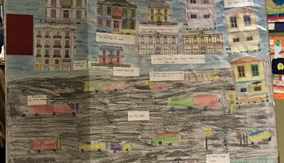 Collage of houses and drawing made by children refugees