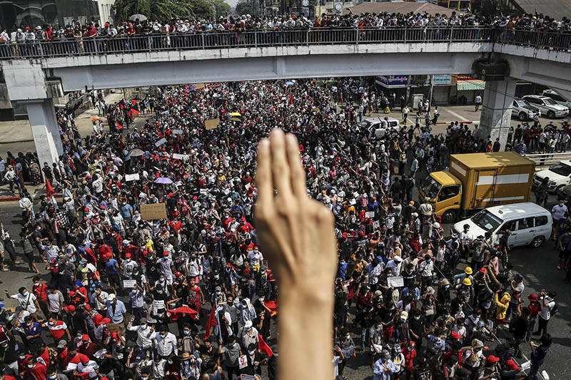 a big crowd protesting in Myanmar