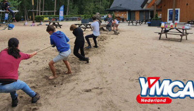 Young people from YMCA Netherlands having fun outside